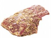 Raw Uncooked Rosemary Garlic Herb Rack Of Lamb Isolated