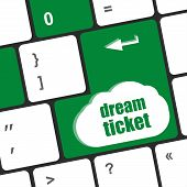 Dream Ticket Button On Computer Keyboard Key