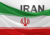Iran flag and country name
