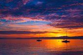 Beautiful sunset on the lake Geneva, Switzerland