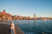 foto of costa blanca  - The calm waters of Benidorm bay with its skyline in the background Costa Blanca Spain - JPG