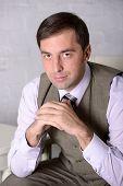 Business Man Sitting Portrait - Stock Photo