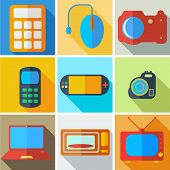 Collection modern flat icons computer technology with long shado