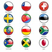 Set circle icon  Flags of world Vector illustr