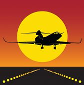 Plane Takeoff In Silhouette 0100