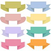 Modern colored ribbons and banners for your text. Isolated on wh