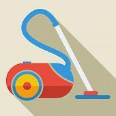 Modern flat design concept icon vacuum cleaner. Vector illustrat
