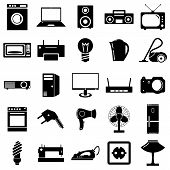 Collection flat icons. Electrical devices symbols. Vector illust