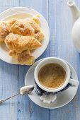 Coffee Cup Black Wooden Board Brown White Jug Milk Croissants