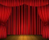 pic of stage decoration  - Red open curtains and wooden stage  - JPG