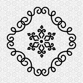 Elegant Flourish Twirl Frame and Flower in Line Design on Floral Pattern