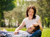 picture of caress  - Young man is resting on woman - JPG