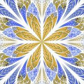Symmetrical Fractal Flower In Stained-glass Window Style. Blue And Beige Palette. Computer Generated