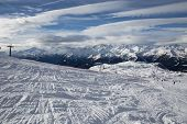 stock photo of italian alps  - Ski Slope near Madonna di Campiglio Ski Resort - JPG