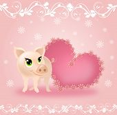 Cute Pig With Pink Heart