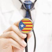 National Flag On Stethoscope Conceptual Series - Estelada - Catalonia - Spain