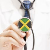 National Flag On Stethoscope Conceptual Series - Jamaica
