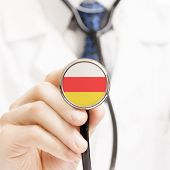 National Flag On Stethoscope Conceptual Series - South Ossetia