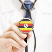 National Flag On Stethoscope Conceptual Series - Uganda