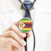 National Flag On Stethoscope Conceptual Series - Zimbabwe