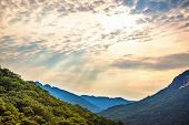 Mountains Landscape And Cloudy Sky With Sunbeams In Korea