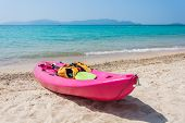 Colorful Kayak On Tropical Beach
