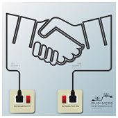Hand Shake Electric Line Business Infographic