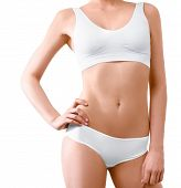 pic of tan lines  - Woman with perfect slim body posing in underwear on the white background isolated - JPG