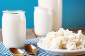 Assortment Of Diary Products For Breakfast (homemade Cottage Cheese, Yogurt And Milk)
