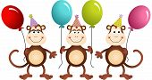 Birthday Monkeys With Balloons