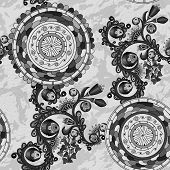 Black and white floral paisley background