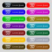 3D Sign Icon. 3D-new Technology Symbol.  Set Of Colour Buttons. Vector