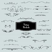 Vector set of borders in vintage style.