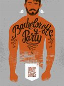 picture of hen party  - Calligraphic poster for bachelorette party with a tattoo on a man - JPG