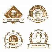 Set of monochrome badge, logo and design elements for beer house, bar, pub, brewery, tavern, restaur