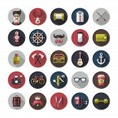Set of modern flat design hipster icons