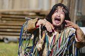 Mongolian shaman performs a ritual in Ulan Bator, Mongolia.
