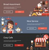 Illustrations of modern flat design coffee-shop, cafe and