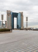 Space, View, Area, Pedestrian Area, Tiles, Sidewalk, Skyscraper, Tokyo, Odaiba, Spring, New, Trendy,