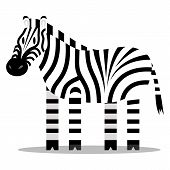 Vector Cartoon Zebra Isolated On Blank Background