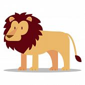 Vector Cartoon Lion Isolated On Blank Background