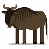 Vector Cartoon Wildebeest Isolated On Blank Background
