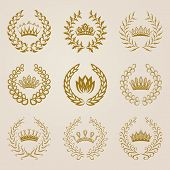 picture of olive shaped  - Set of vector golden laurel wreaths - JPG