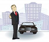Businessman and  car. Rich man in the city. Vector