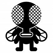 Vector Cartoon Funny Fly Icon Character Isolated