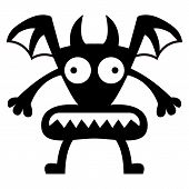 Vector Cartoon Funny Demon icon Character Isolated
