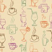 Seamless pattern with drinks