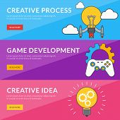 Flat Design Concept For Creative Process, Game Development, Creative Idea