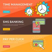 Flat Design Concept For Time Management, Sms Banking, Pay Per Click