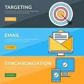 Flat Design Concept For Targeting, Email, Synchronization